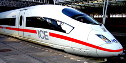 An ICE high speed train parked at Amsterdam's Centraal Station. http://www.enjoy-europe.com/171-P1230436f.jpg