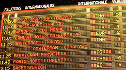 The train departure board at Brussels' Zuid/Midi train station. http://www.enjoy-europe.com/172-p1020015.jpg