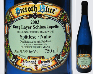 The label and blue bottle of a German Riesling wine from the Nahe Gebiet, Deutschland. http://www.enjoy-europe.com/GermanWineBottleLabel.jpg