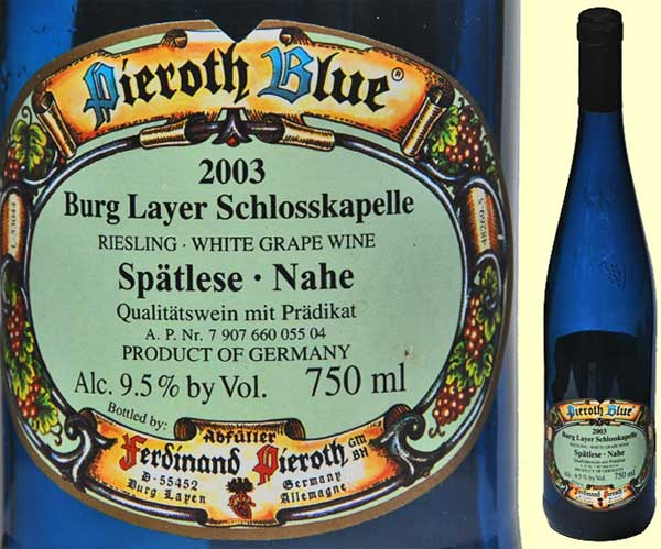 The label and blue bottle of a German Riesling wine from the Nahe Gebiet, Deutschland.