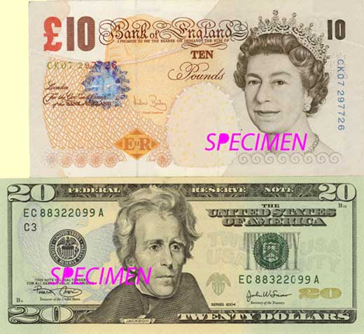 A British 10 Pound Note Is Compared To An American 20 Dollar Bill