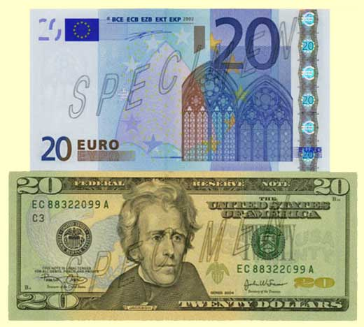 View Of A 20 Euro Note And Bill