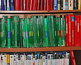 Part of my library of guide books, maps, and dictionaries.