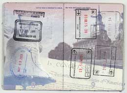 Typical passport entry and exit stamps.