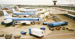 KLM airplanes at Schiphol Airport, Amsterdam, Holland.
