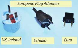 Various outlet designs in Europe require different plug adapters.