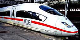 An ICE high speed train parked at Amsterdam's Centraal Station. http://www.enjoy-europe.com/home/171-P1230436f-3.jpg