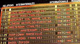 The train departure board at Brussels' Zuid/Midi train station. http://www.enjoy-europe.com/home/172-p1020015-3.jpg
