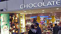 The duty free chocolate shop at Amsterdam's Schiphol Airport. http://www.enjoy-europe.com/home/23-P1250471-3.jpg