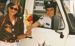 Elizabeth being gifted by a police officer in Istanbul Turkey.
