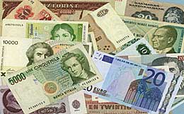 Bank notes used in many European countries. http://www.enjoy-europe.com/home/01-0117-3.jpg