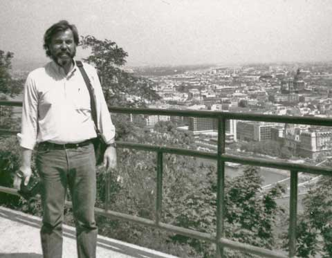 John Bermont wearing Levis, a beard, and long hair in Budapest Hungary, 1993.