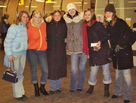 Six girls in the Riga Latvia train station, January.