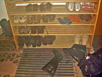 Shoe rack at hostel in Riga Latvia.