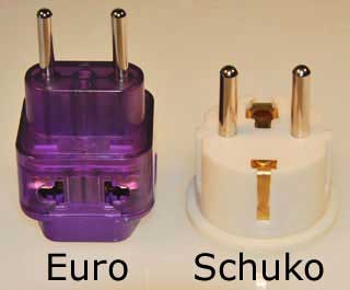 Here is a side-by-side view of a Schuko and a Euro plug adapter.