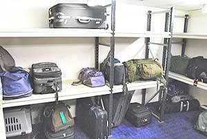 Luggage room on the Stena Line ferry from Fishguard, Wales to Rosslare, Ireland.