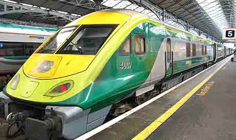 An Irish InterCity train parked in Dublin Heuston Station.