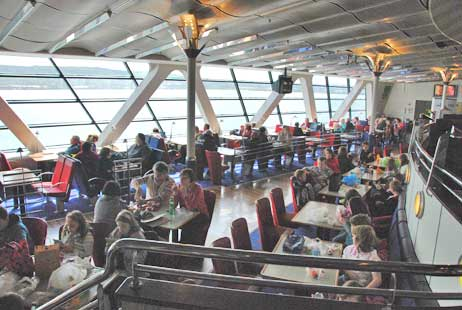 Open dining area on the Stena Line ferry from Belfast, Ireland to Stranraer, Scotland.