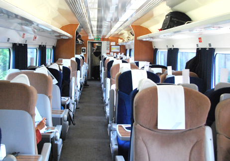 Interior of a first class coach on the National Express in England.