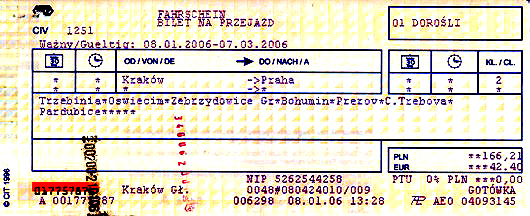 Typical European train ticket, from Krakow, Poland to Prague, Czech Republic.