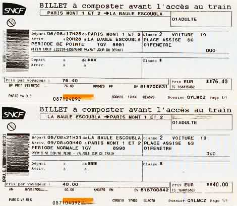 A pair of French TGV train tickets.