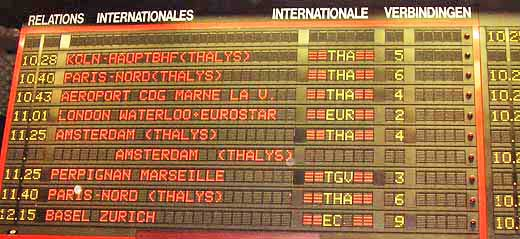 The main departure board for international trains from station Zuid/Midi, Brussels, Belgium.