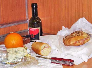 I brought my own dinner on board my overnight train from Milan, Italy. http://www.enjoy-europe.com/hte/chap17/P1080444-8.jpg