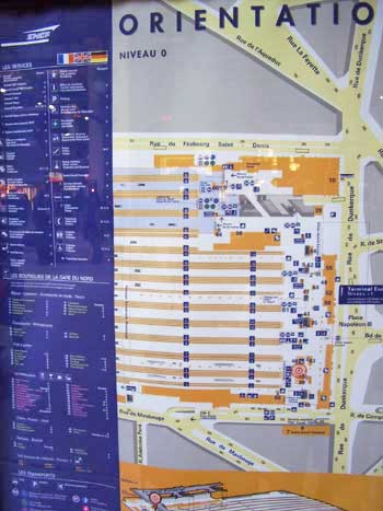 This orientation plan at Gare du Nord in Paris, France is keyed in French, English, and German. http://www.enjoy-europe.com/hte/chap17/p1020028.jpg