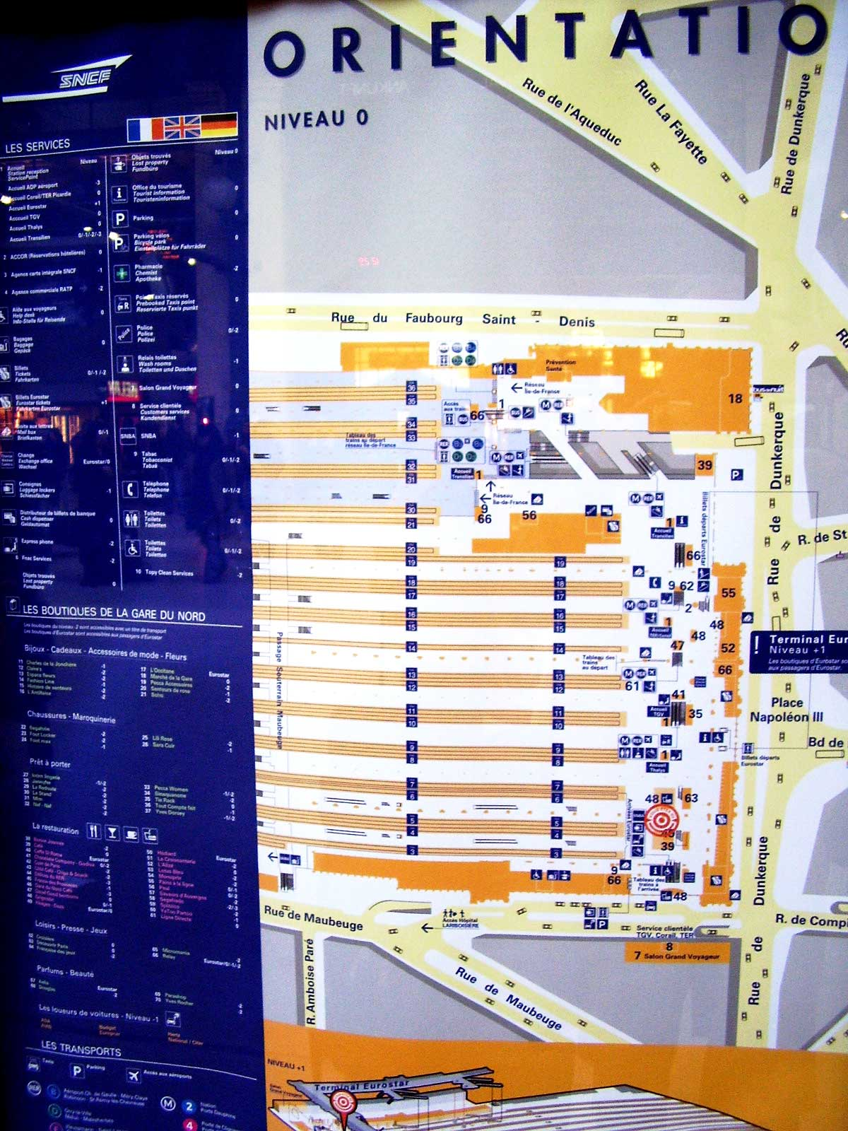 Orientation plan for Gare du Nord train station in Paris, France. http://www.enjoy-europe.com/hte/chap17/p1020028full.jpg