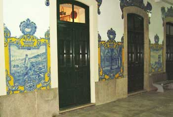 Azulejos tiles on the wall of the Vilar Formoso, Portugal train station.