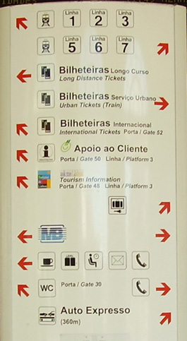 Train information poster in Lisbn, Portugal.