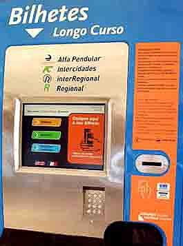 Train ticket machine in Lisbon, Portugal.