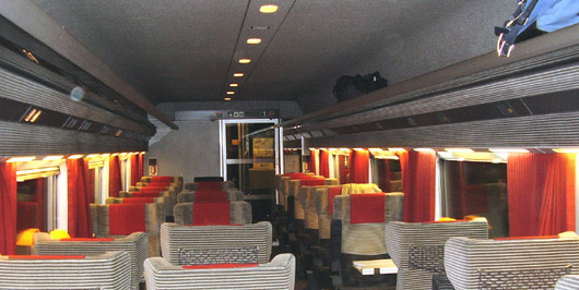 Interior of a first class TGV train car in France running from Marseilles to Lyon.