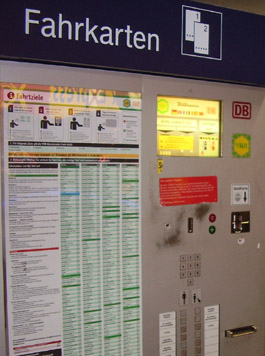 Train ticket machine in Duesseldorf, Germany.