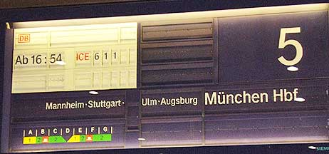 Train information sign on the platform in Germany.