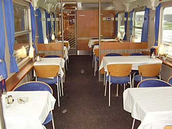 The dining car of my night train from Fulda, Germany to Copenhagen, Denmark.