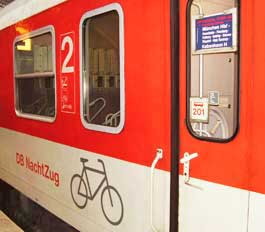 Second class car which accepts bicycles.