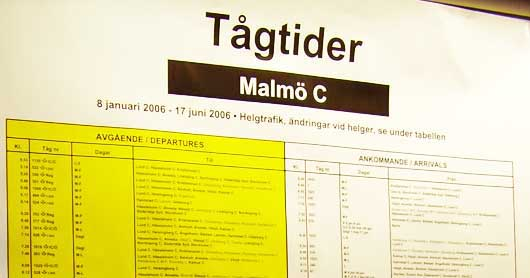 The arrivals and departures board for trains at Malmo, Sweden are all on one poster. http://www.enjoy-europe.com/hte/chap17/p1110163.jpg