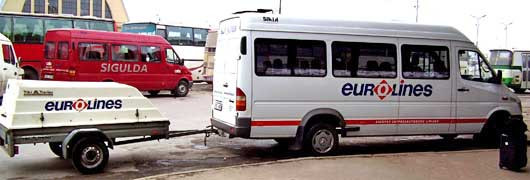 A Eurolines van bus at the station in Riga, Latvia.