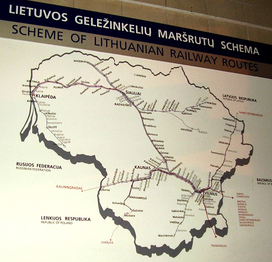 Rail map of trains in Lithuania.