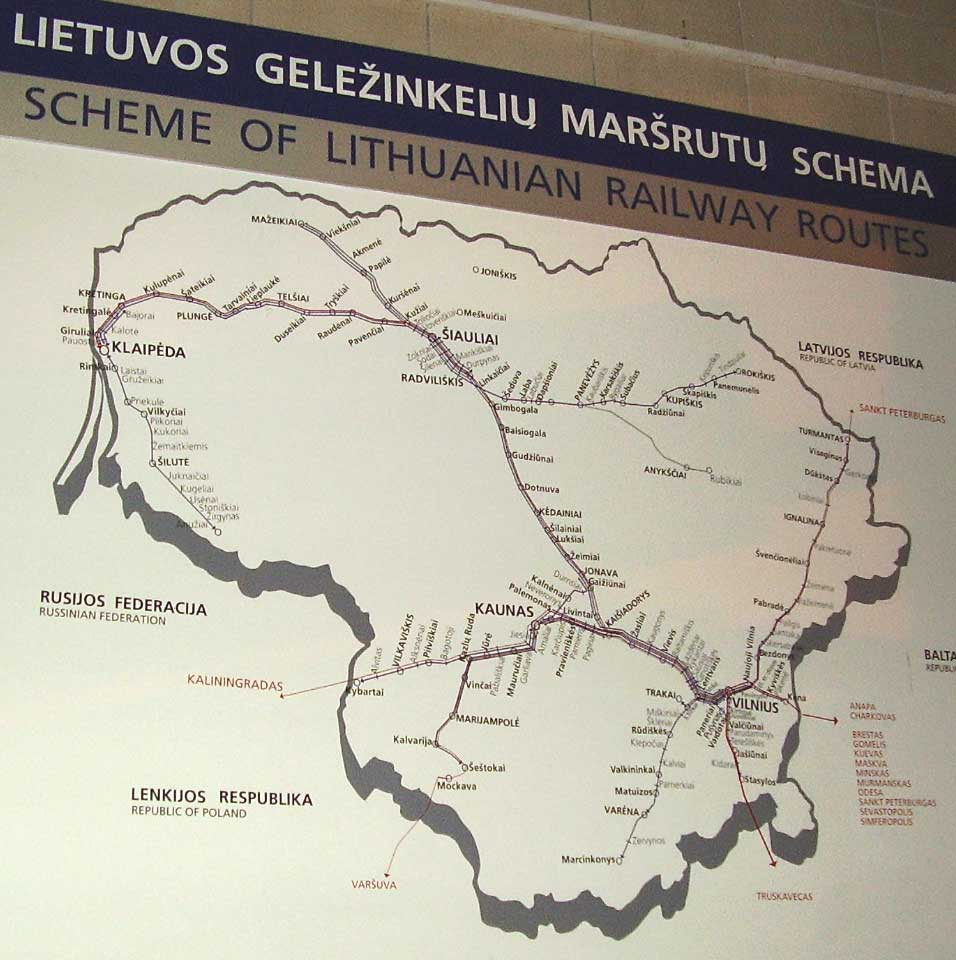 Rail map of Lithuania, posted in the Vilnius train station. http://www.enjoy-europe.com/hte/chap17/p1180135full.jpg