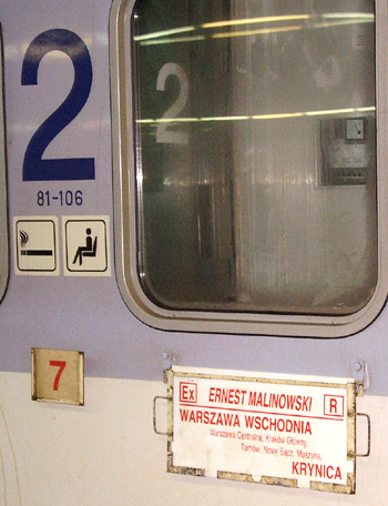 An express train in Poland from Warsaw to Krynica.