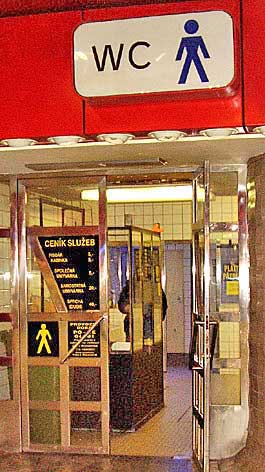 Entrance to the men's room in the Prague, Czech Republik train station. http://www.enjoy-europe.com/hte/chap17/p1210249.jpg
