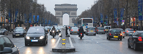 Traffic on the Champs Elysees, Paris, France.