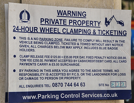 This warning sign in London lets you know what's in store if you park illegally. http://www.enjoy-europe.com/hte/chap18/Chap18images/40336Warning.jpg