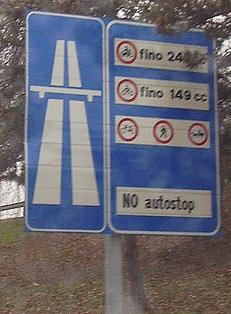 An expressway sign in Italy.