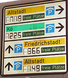 A sign indicating parking structures in downtown Düsseldorf, Germany. http://www.enjoy-europe.com/hte/chap18/Chap18images/P1100045FreiePlaetzeDuesseldorf.jpg