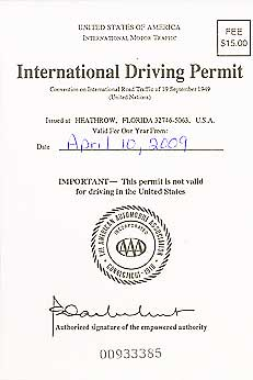The cover of an International Driving Permit.
