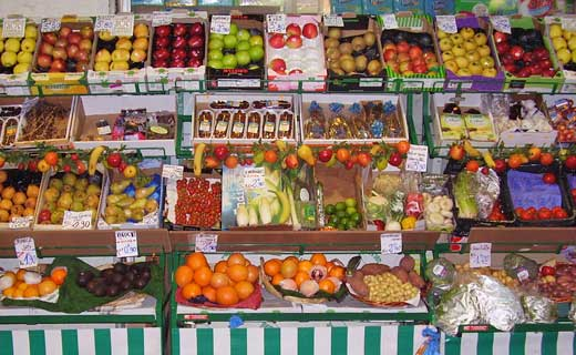 Small market fruit display in Paris, France.