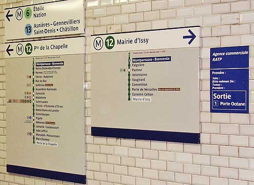 Direction signs in a Metro tunnel, Paris, France.
